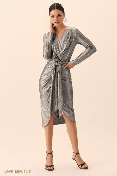 Платье серебристого цвета на запахе с поясом 9452005566