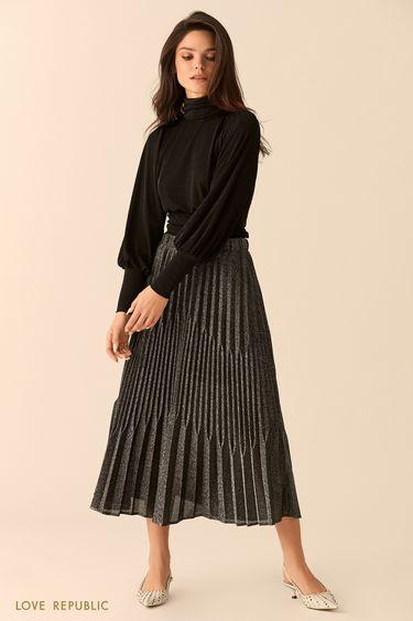 Блузка чёрного цвета с открытой спиной и бантом на талии 9452020335