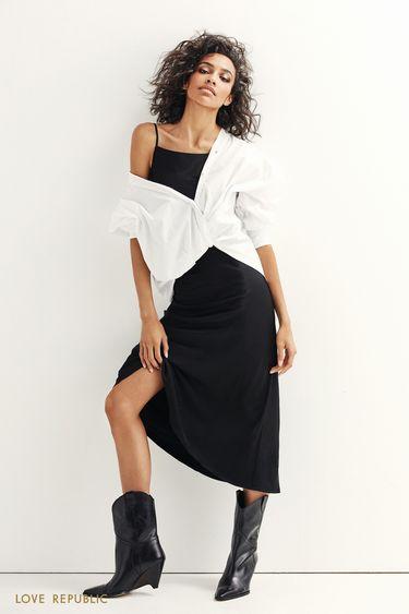 Платье миди из шелковистой ткани 9452021524