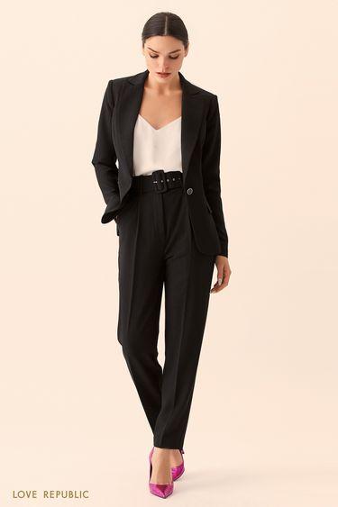 Укороченные брюки из костюмной ткани с принтом 9452062722