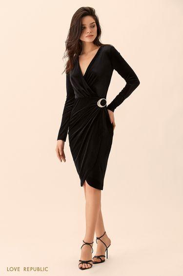 Платье чёрного цвета из велюровой ткани 9452064562