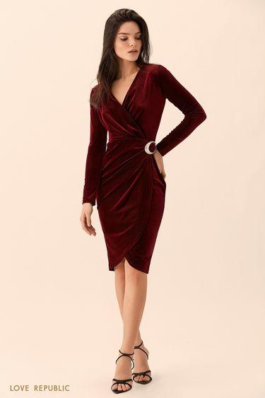 Платье бордового цвета из велюровой ткани 9452064562