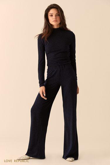 Широкие фиолетовые брюки из ткани с люрексом 9452077727
