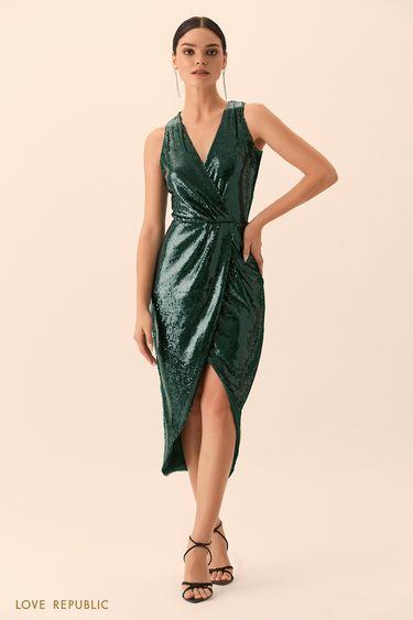 Открытое платье изумрудного цвета с пайетками 9452085573