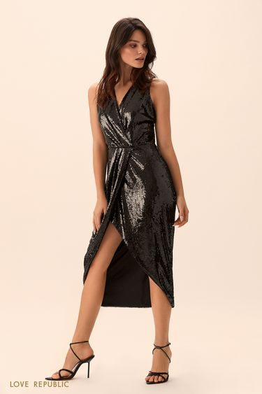Открытое платье чёрного цвета с пайетками 9452085573