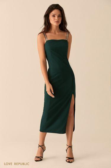 Платье изумрудного цвета с высоким разрезом 9452086576
