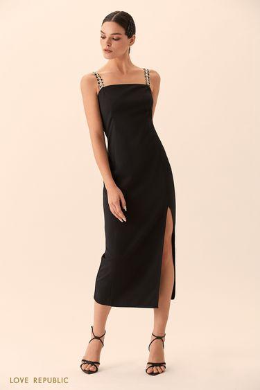 Платье чёрного цвета с высоким разрезом 9452086576