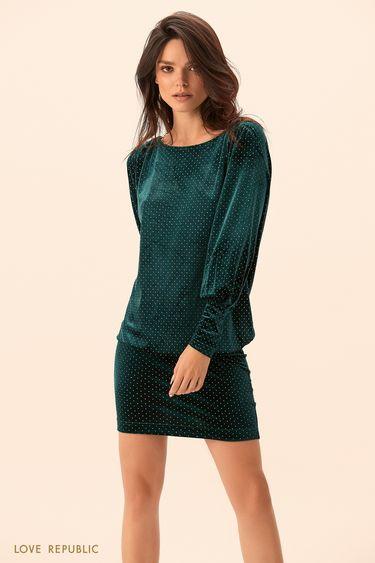 Платье изумрудного цвета с вырезом на спине 9452090570