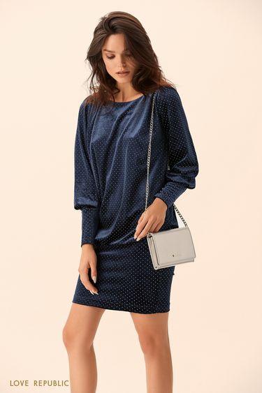 Платье тёмно-синего цвета с вырезом на спине 9452090570