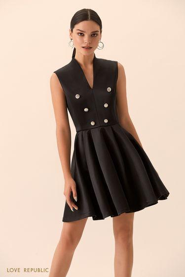 Платье с пышной юбкой и декоративными пуговицами 9452094591
