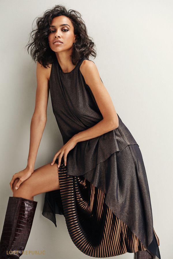 Блузка чёрного цвета с неровным краем 9452001321-50