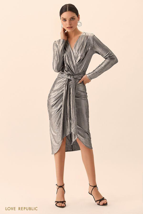 Платье изумрудного цвета на запахе с поясом 9452005566-16