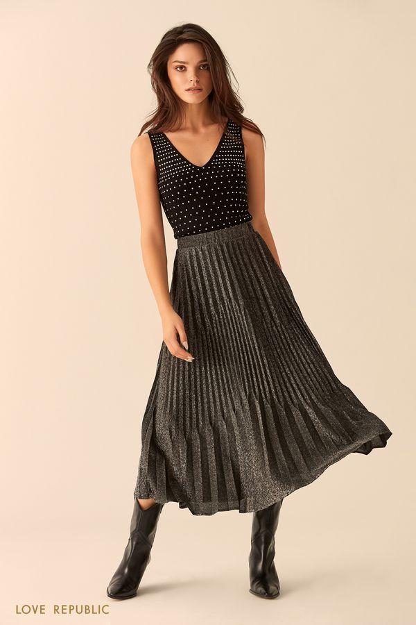 Длинная плиссированная юбка из серебристой ткани 9452010224-31