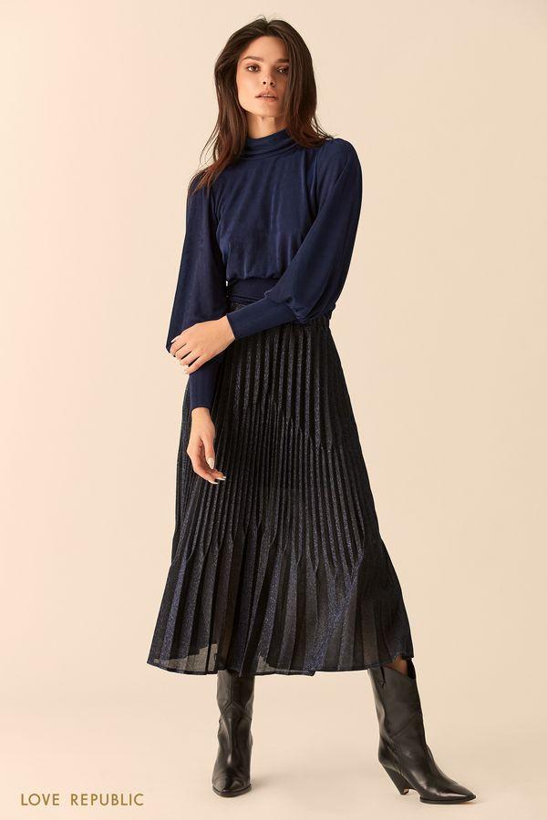 Длинная плиссированная юбка из фиолетовой ткани 9452010224-82
