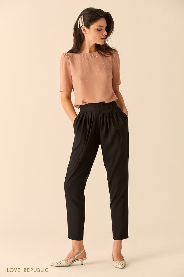 Укороченные брюки с эластичным поясом 9452011729-50