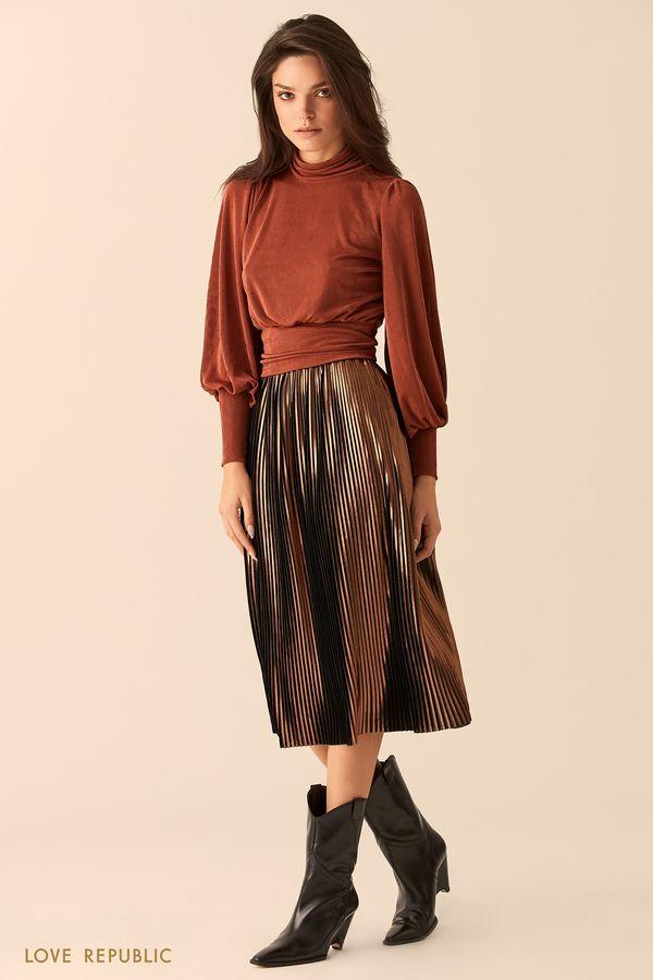 Блузка медного цвета с открытой спиной и бантом на талии 9452020335-67