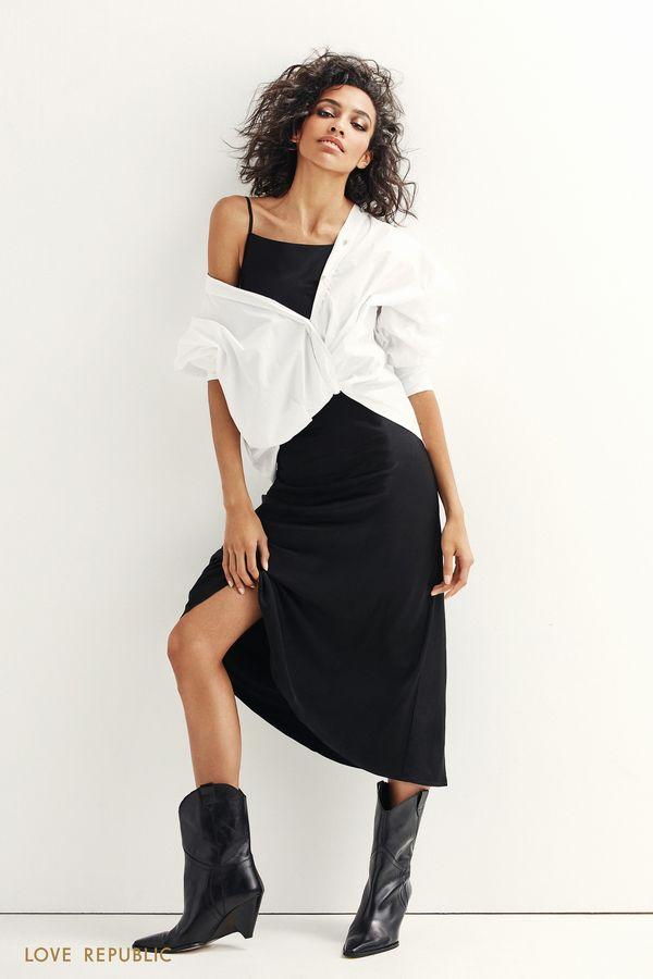 Платье миди из шелковистой ткани 9452021524-50
