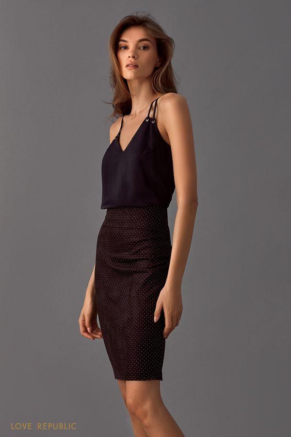 Топ чёрного цвета в бельевом стиле 9452023336-50