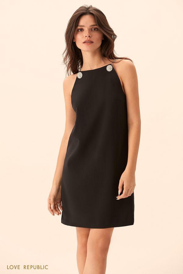 Платье чёрного цвета с декором из страз и цепочек 9452061594-50