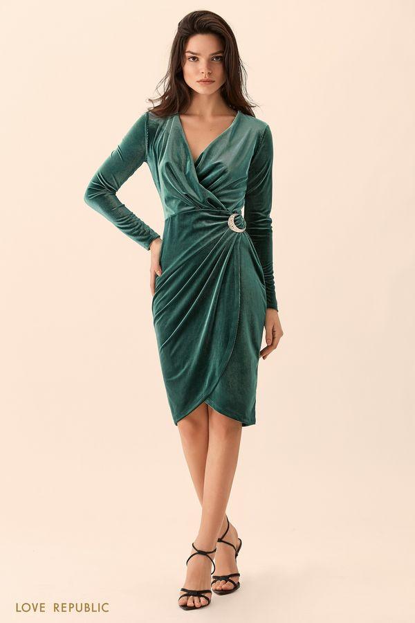 Платье изумрудного цвета из велюровой ткани 9452064562-16