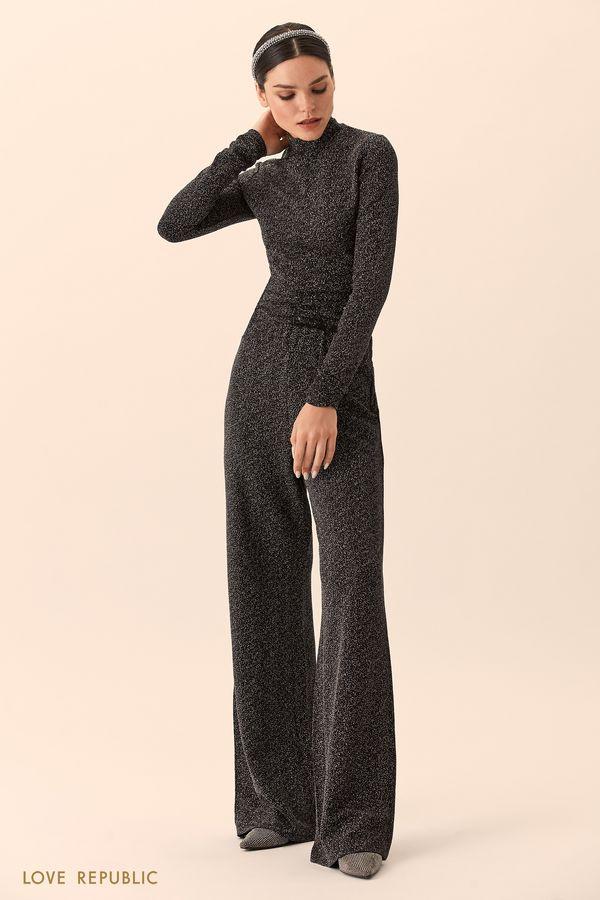 Широкие фиолетовые брюки из ткани с люрексом 9452077727-82