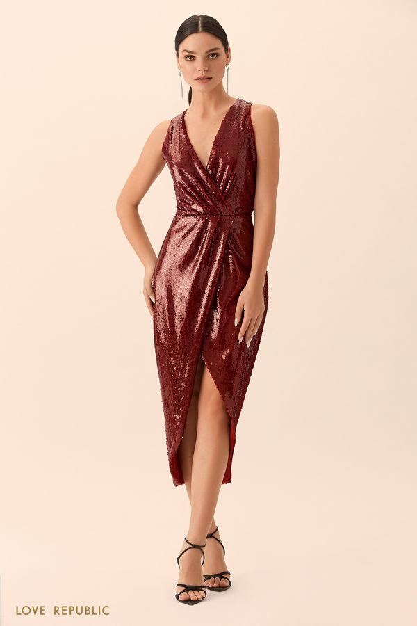 Открытое платье бордового цвета с пайетками 9452085573-71