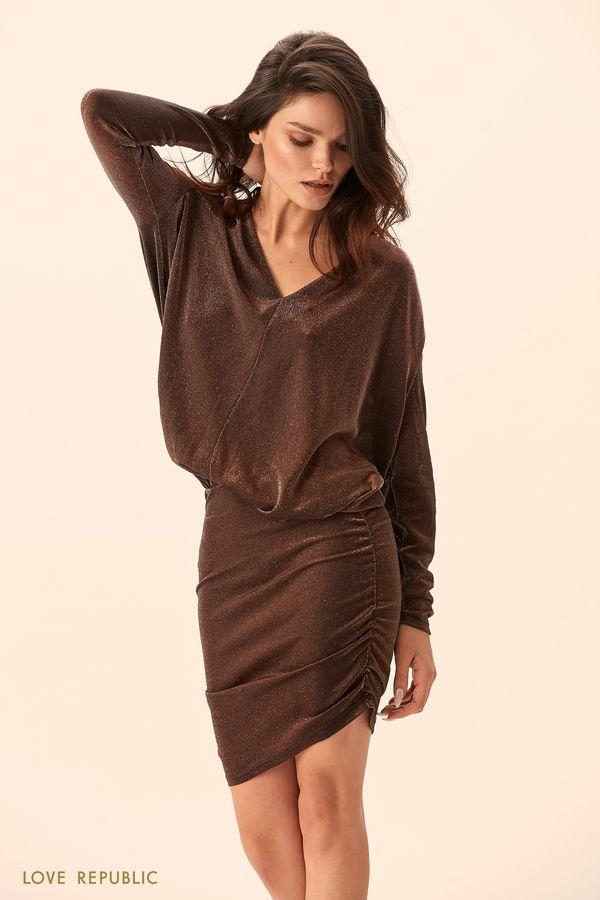 Платье медного цвета с объёмным верхом 9452087580-67