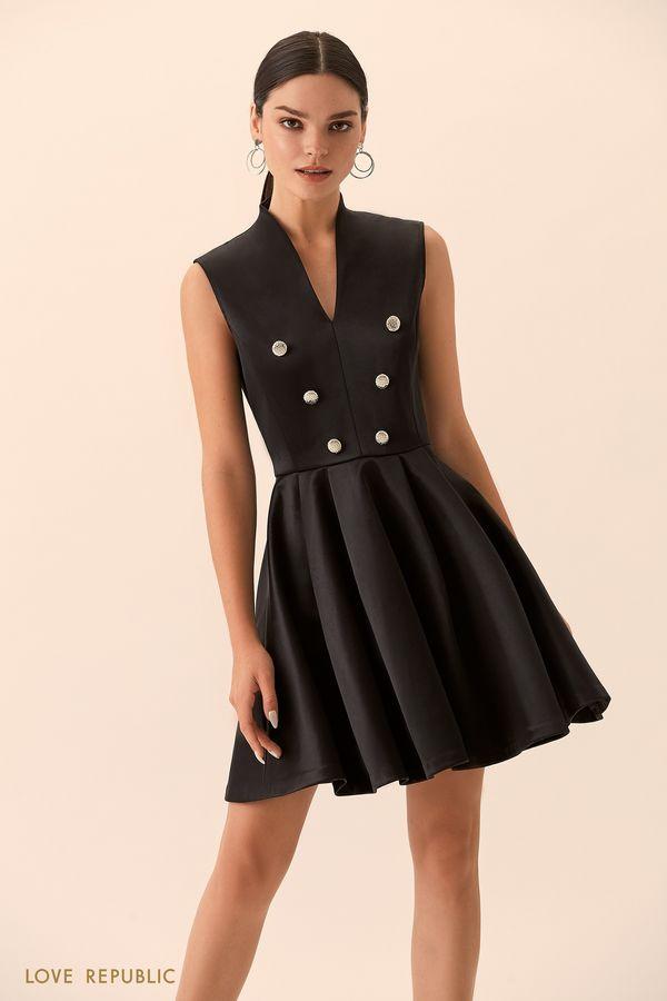 Платье с пышной юбкой и декоративными пуговицами 9452094591-50