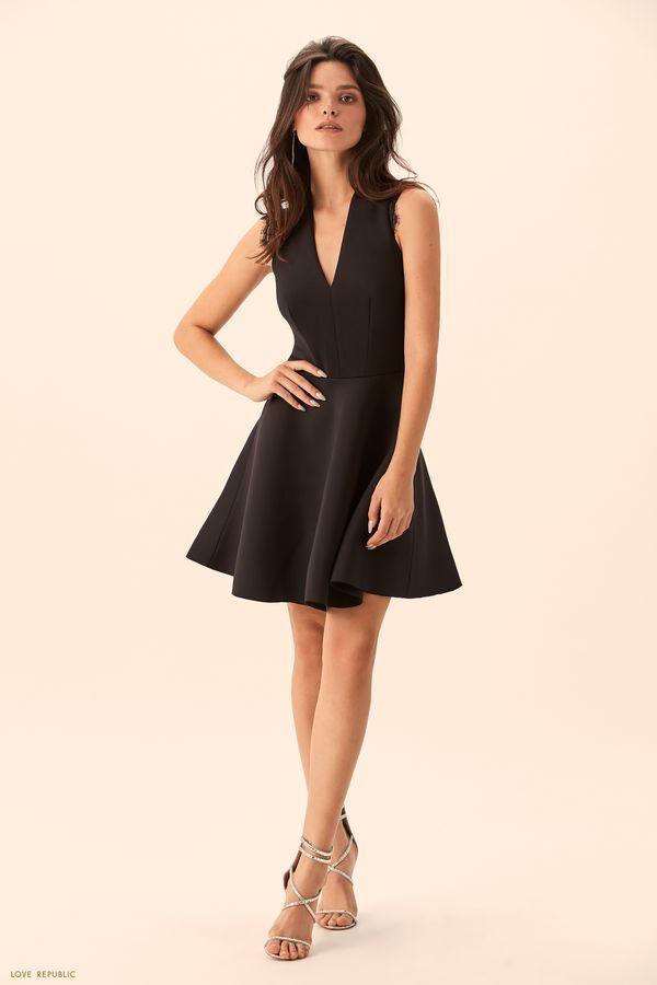 Чёрное платье с юбкой клёш 9452106525-50
