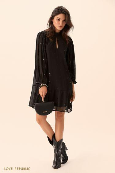 Платье из полупрозрачной ткани с принтом из пайеток 9452254505