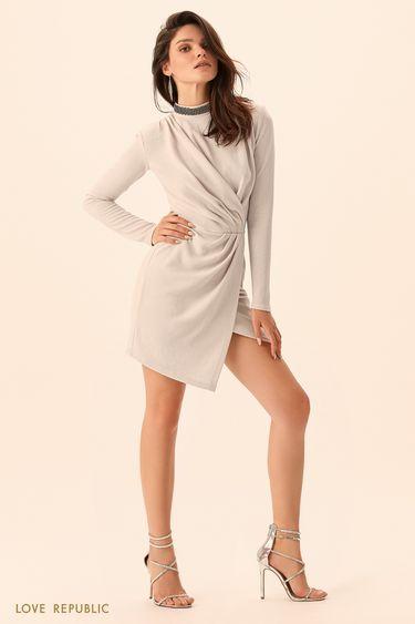 Короткое платье с асимметричными драпировками  9452255503