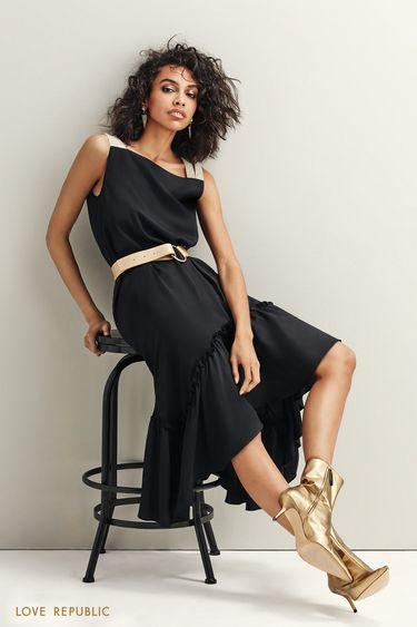 Асимметричное платье с контрастными деталями 9452257509
