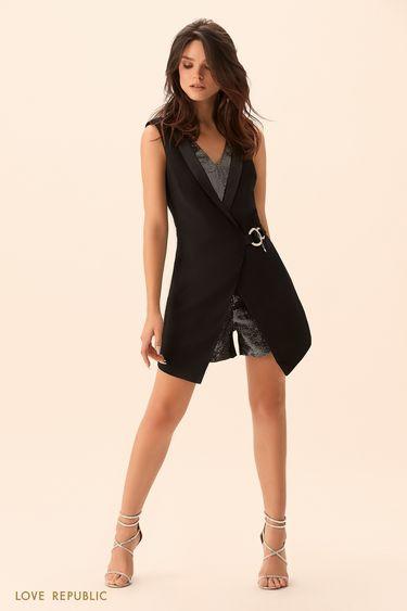 Платье-комбинезон без рукавов с серебристыми вставками 9452313703