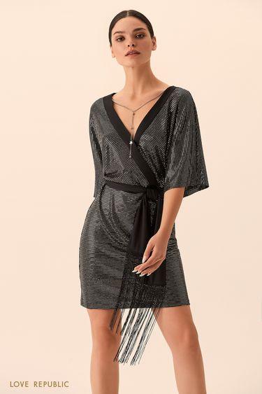 Короткое платье из ткани с пайетками 9452318508