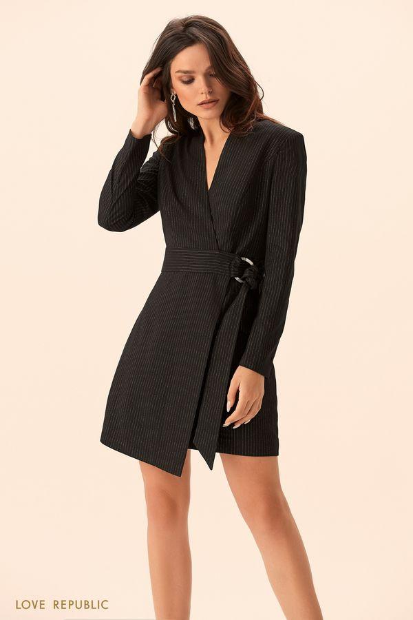 Платье-пиджак из костюмной ткани с принтом  9452314502-50
