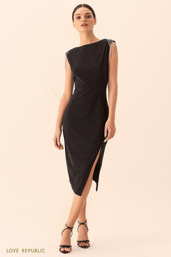 Платье без рукавов с декором из цепочек 9452317507-50