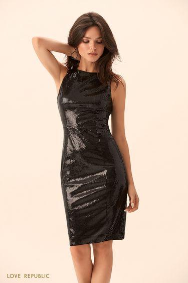 Мини-платье с блестящими пайетками 9452504587
