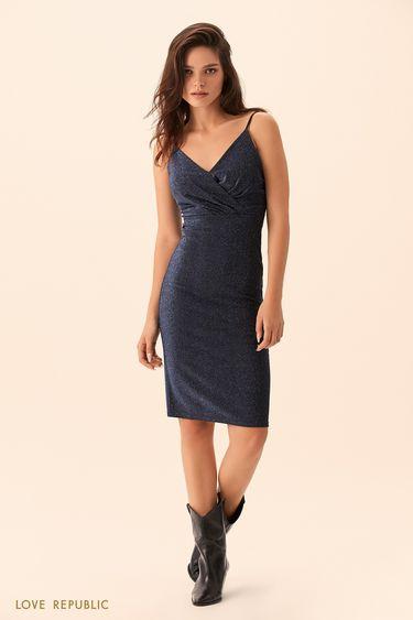 Открытое платье из синей ткани с люрексом 9452509596