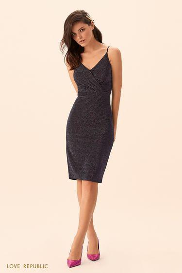 Открытое платье из разноцветной ткани с люрексом 9452509596