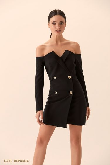 Платье-пиджак с открытыми плечами 9452562581