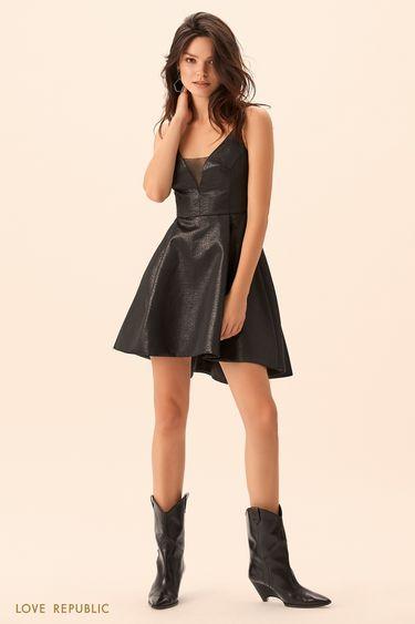 Мини-платье чёрного цвета с пышной юбкой 9452564584
