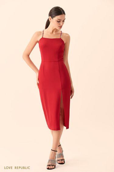 Бордовое платье миди с разрезом и декором из страз  9452567597