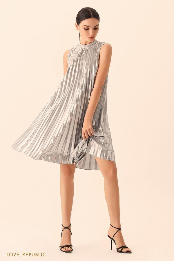 Короткое чёрное плиссированное платье А-силуэта 9452502585-50
