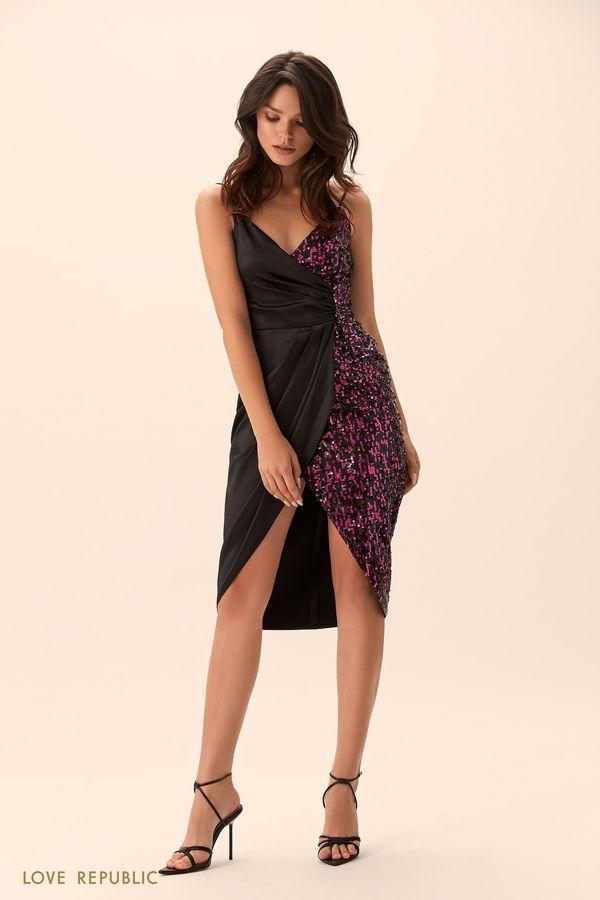 Открытое платье со вставкой из ткани с пайетками 9452503586-50