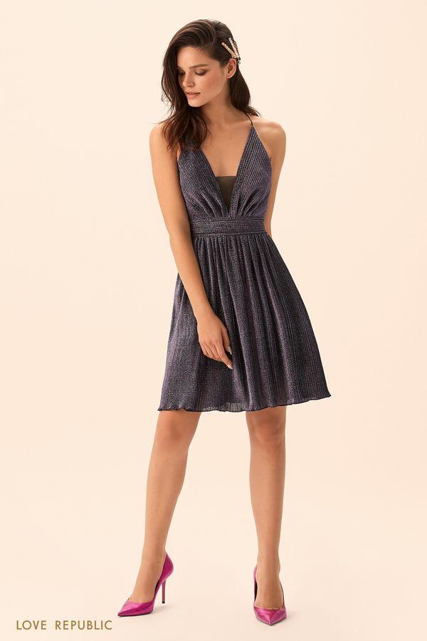 Короткое платье из ткани с люрексом 9452506589-99