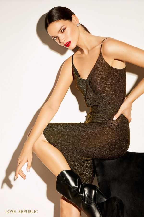 Открытое платье из ткани золотистого цвета с люрексом 9452509596-6
