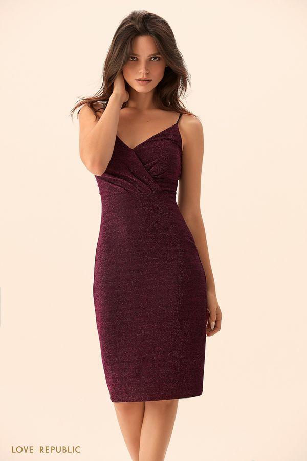 Открытое платье из синей ткани с люрексом 9452509596-40