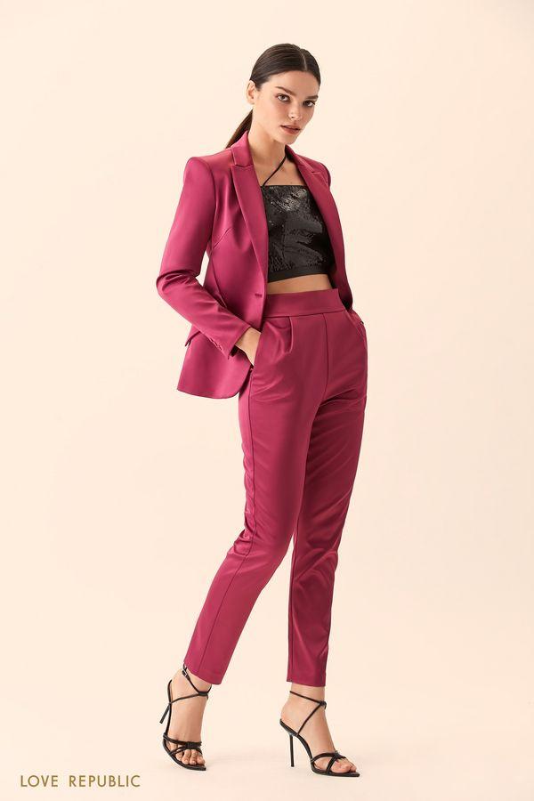 Укороченные брюки из атласной ткани с широким поясом 9452561734-91