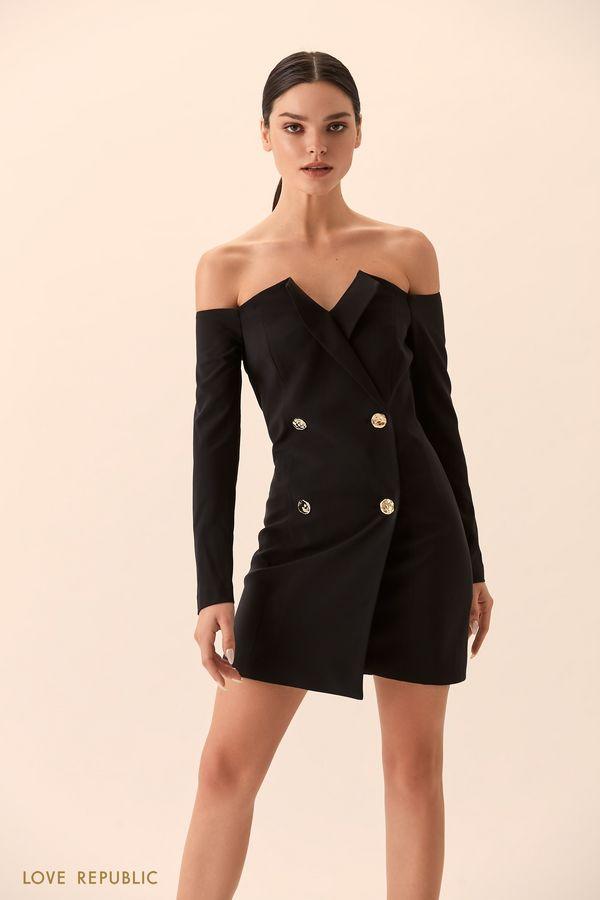Платье-пиджак с открытыми плечами 9452562581-50
