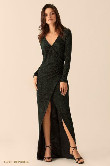 Платье макси тёмно-зелёного цвета сразрезом 94527510531